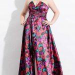 Festliche Kleider für Mollige Festlich bedrucktes trägerloses Kleid