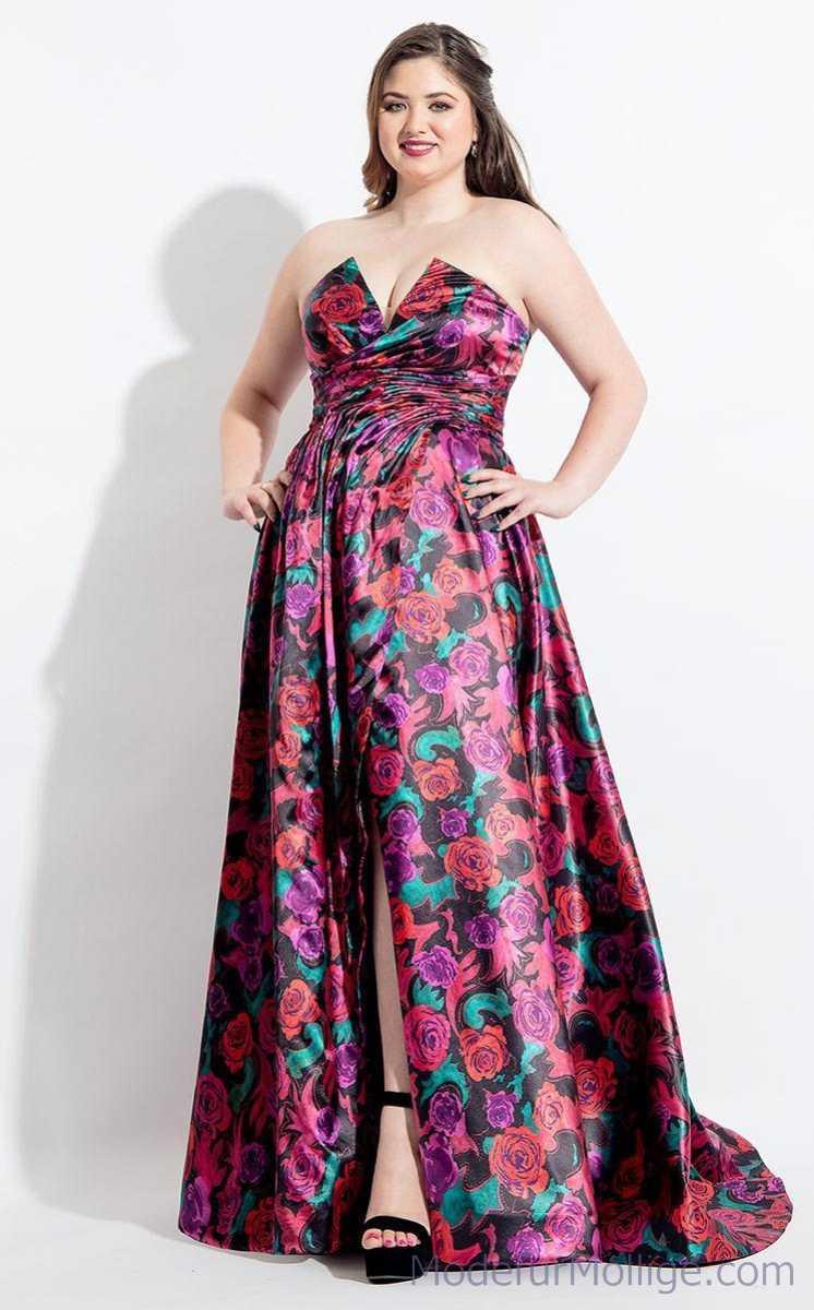 Festliche Kleider für Mollige Asymmetrisches trägerloses Vokuhila Kleid