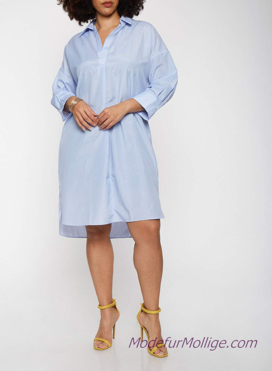Gelb Shirt Kleider Große Größe buttonfront Vokuhila Kleid