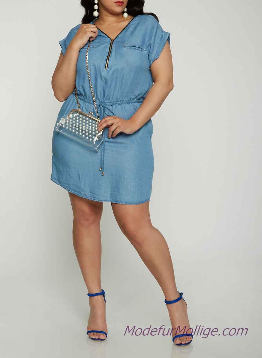 Jeanskleid Große Größe, Chambray Kleid Kurz mit Reißverschluss