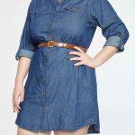 Knopf Jeanskleid mit Gürtel Besatz