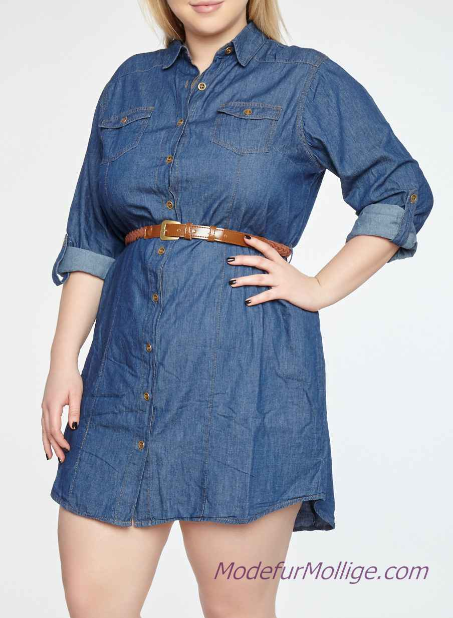 Große Größe, Geknöpftes Jeanskleid mit Knopfleiste