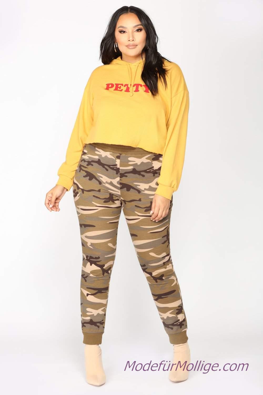 Mode Für Mollige Frauen - Grün gemusterte Hose gelb langarm T-Shirt