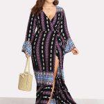 Sommerkleider Tiefer V-Ausschnitt geriffelter Ärmel Geo Print Kleid