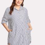 Sommerkleider Vertikal gestreiftes Hemdkleid mit abgerundetem Saum