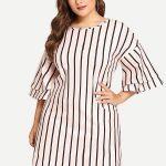 Sommerkleider große Größe gestreiftes Kleid mit Lagenärmeln