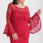 Abendkleider für Mollige, Spitze Rote Abendkleid Kurz