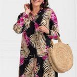 Damenmode in Großen Größen Mode für Mollige - Palm verzierte rosa Hemdkleid