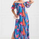 Damenmode in Großen Größen Mode für Mollige - Schulter Frilly Buntes Muster Langes Kleid