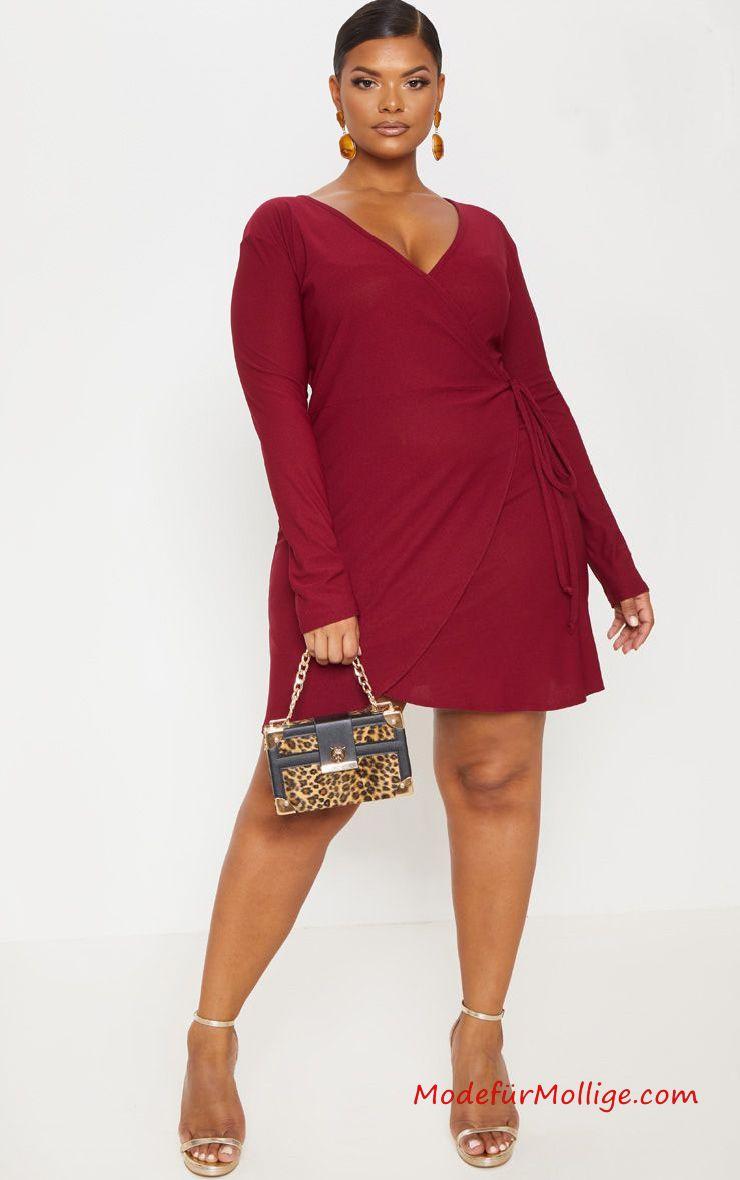 festliche kleider für mollige; große größe burgund wickel