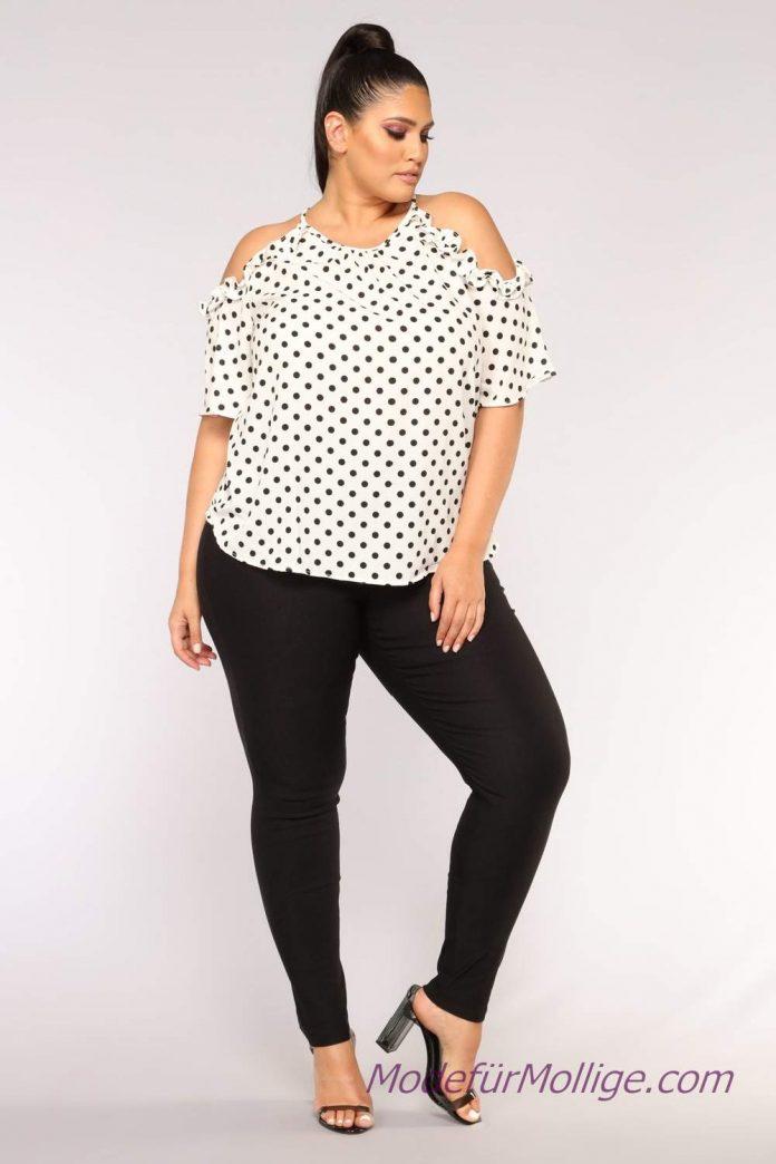 Komplette outfits damen mode für mollige; Schwarze Hose mit weißer Schulter Bluse
