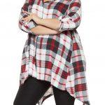 Mode für mollige; Asymmetrisch geschnittenes, kariertes Hemd