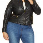 Mode für mollige; Genähte Lederjacke in Übergröße