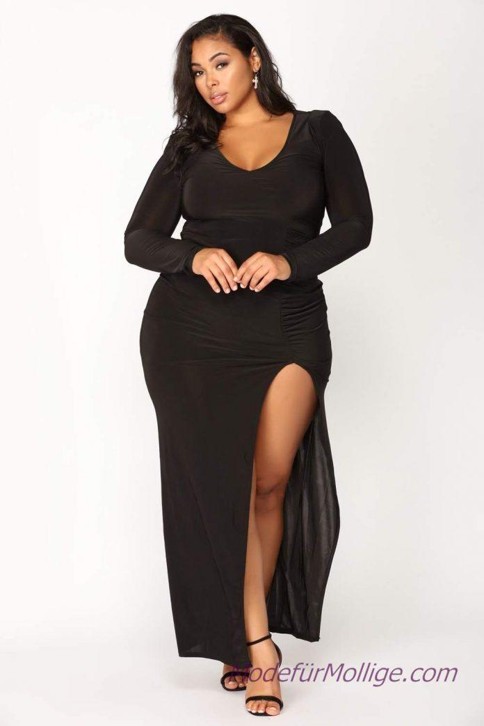 2019 kleider für mollige hochzeitsgäste schwarzes langes Kleid mit langen Ärmeln