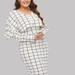 Business kleidung damen große größen Gitter Umhang Kleid