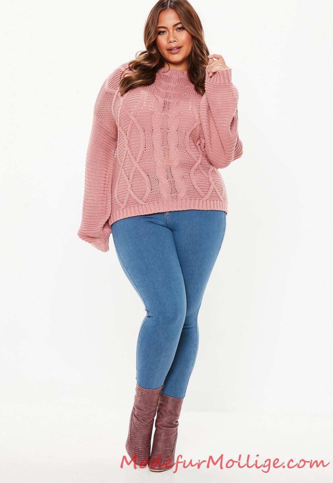 Große Größen Blaue, übergroße Jeansjacke in mittlerer Waschung für mollige damen