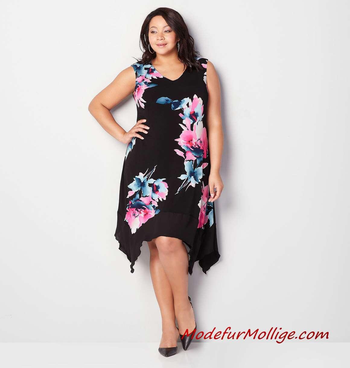 Sommerkleider Große Größe Frauen Besticktes Midi A-Line Kleid