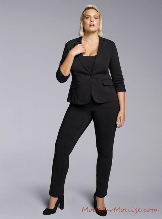 Business Mode für Mollige Damen, Bluse mit Stretch Skinny Hose