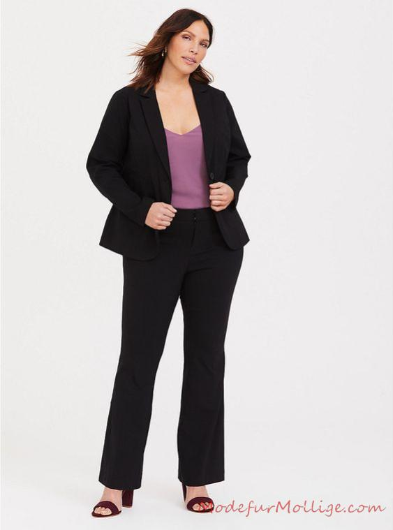 Business Mode für Mollige Damen, Bluse mit Stretch Skinny Hose