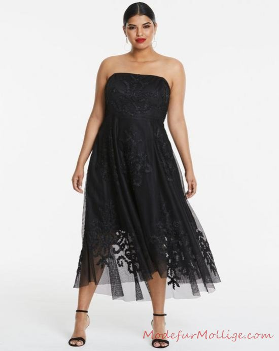 Großen Größen Kleider für Hochzeitsgäste Bleifarbe MaxiKleid aus Zinn mit Spitzen Detail