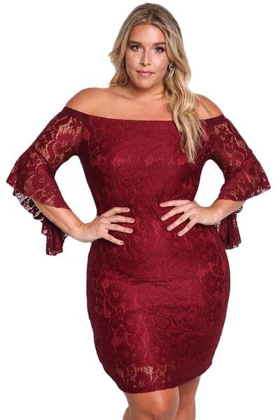 Burgund große Größe Schulterfrei Spitze, figurbetontes Kleid