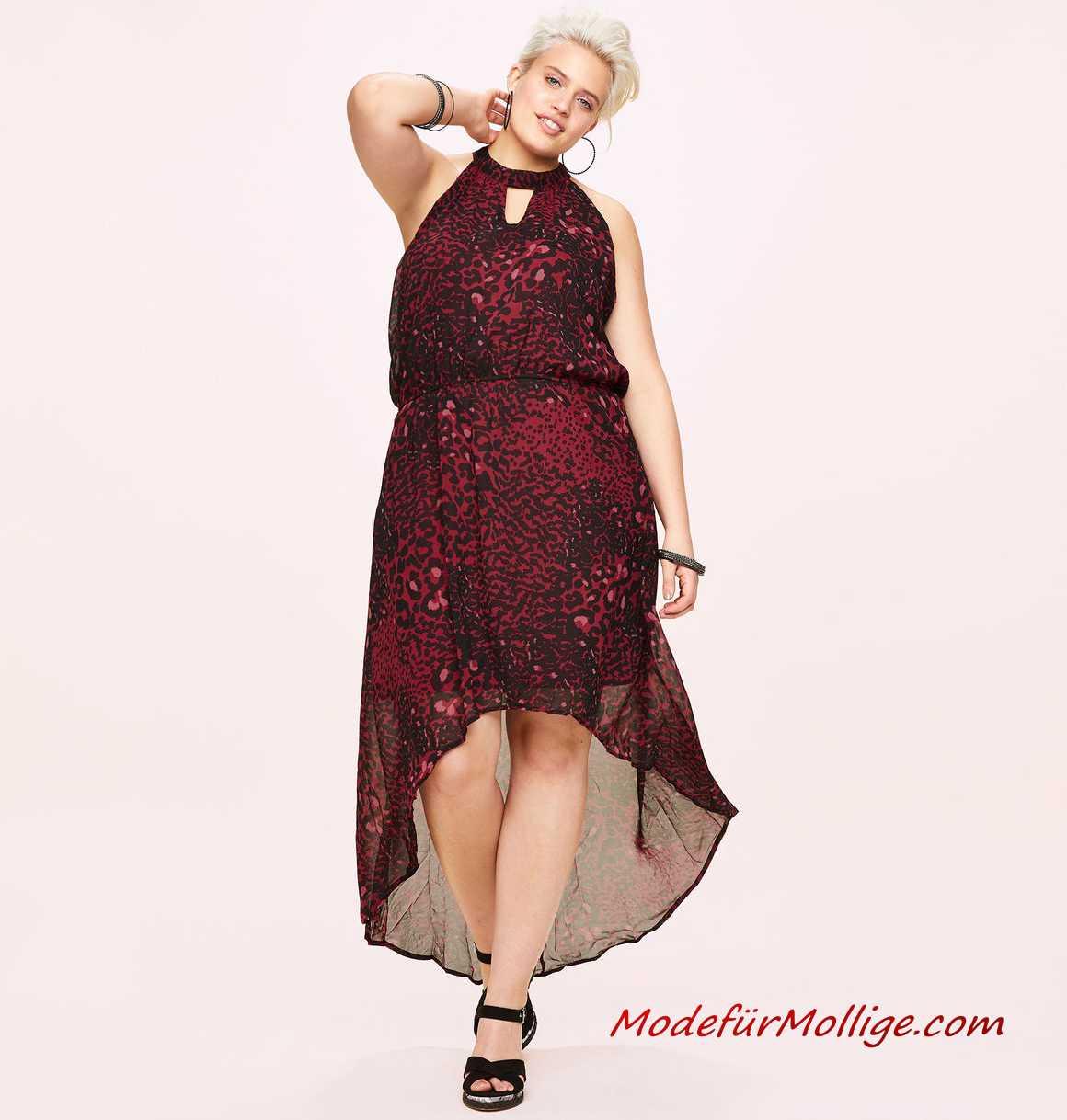 Mode Für Mollige Große Größe Blumen Chiffon Kleid