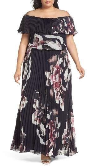 Große Größe Hochzeitsgast Kleid - Große Größe aus der Schulter Rüschenkleid