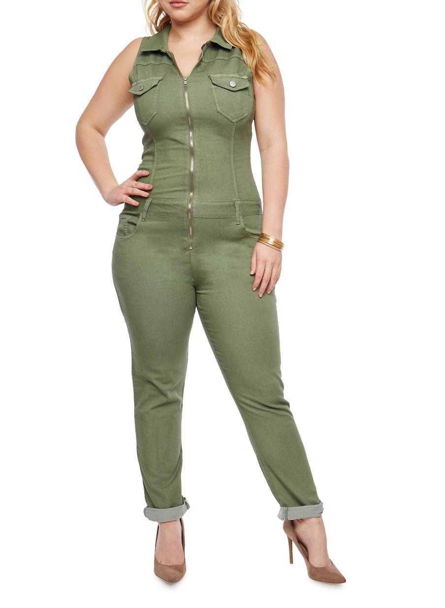 Große Größe Jumpsuit mit Reißverschluss vorne für Mollige Damen