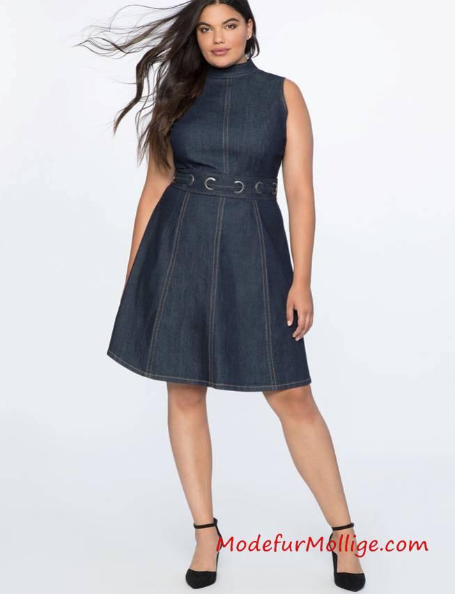 Große Größen A-Line Blau Jeanskleid