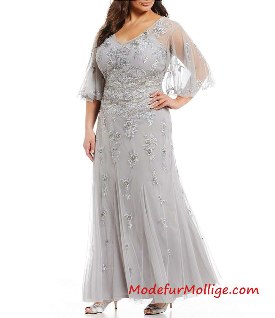 Große Größen Brautmutterkleider; V-Ausschnitt Perlen weites Ärmel lange Kleid