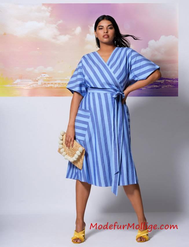 Große Größen Gestreiftes Blau Taillenkleid mit ...
