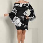 Großen Größen Brautmutterkleider; Blumenkleid mit Ärmeldetails Schwarz
