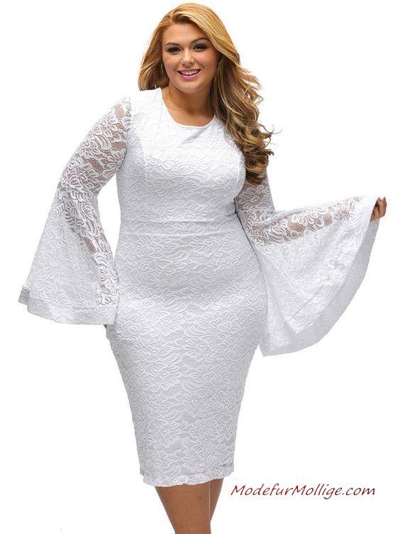 Großen Größen Brautmutterkleider; Spitze Blume fest Ärmel Kleid Weiß