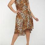 Leopardendruck Imitat Wickelkleid in Übergröße, Braun