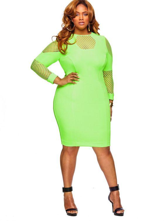 Modisch mit Neon Party Outfits für Frauen in Große Größe grün