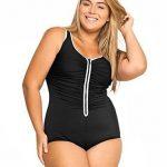 Schwarz Große Größe Badeanzüge Badeanzüge mit Reißverschluss vorne
