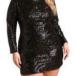 Schwarz Große Größe Pailletten Partykleid