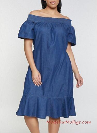 Sommermode für mollige Frauen; ärmelloses Knopfkleid aus Jeanskleid