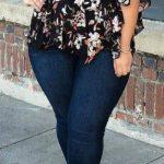 Styling Tipps für Mollige Frauen - Skinny Jean, Bluse Drucken