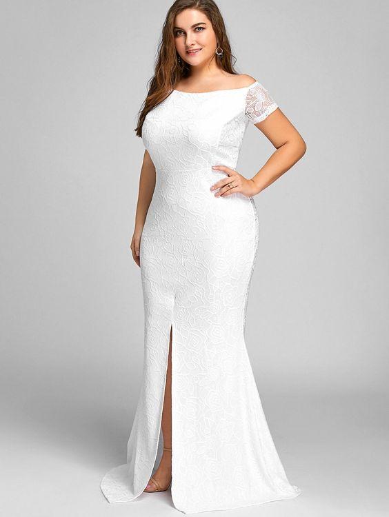 große Größe Einfaches weißes Kleid