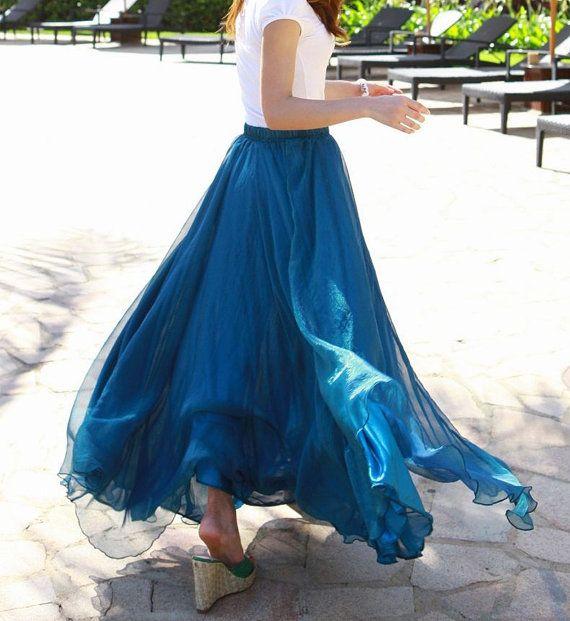 Große Größe Lang Rock Outfits für Mollige Frauen; Blau Chiffon Rock