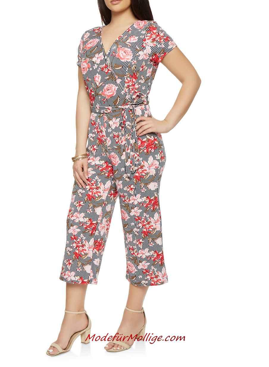 Große Größe Bedruckter Capri Jumpsuit für Mollige Damen Sommer