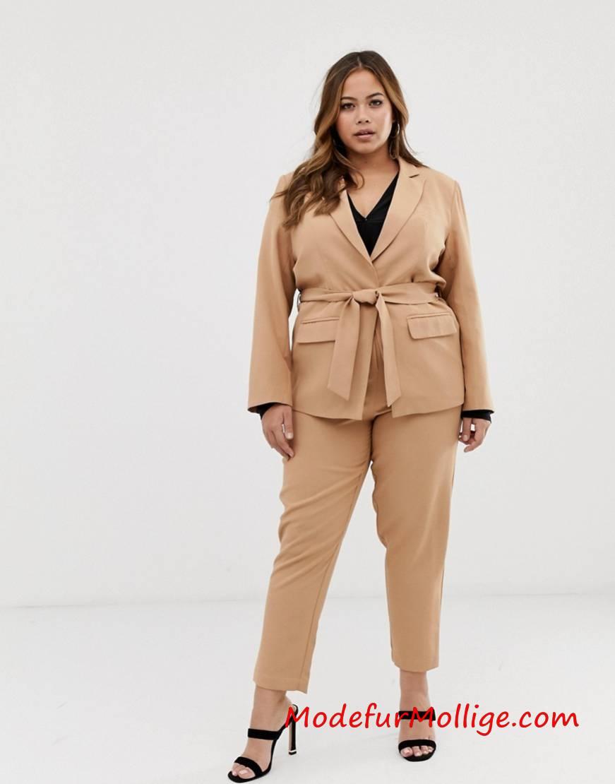 Frühlings grobe Größe Damen Anzug Blazer mit Rapport Drücken und Kontrast Reversdetail