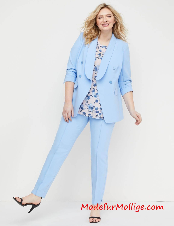 Frühlings grobe Größe Damen Anzug Zweireihiger moderner Stretch Anzug