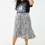 Große Größe Zebra druck röcke - Zebradruck, knielanger, weicher Faltenwurf und Taille zum Binden.