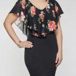 Große größe Plus Size Floral Overlay Dress für mollige damen