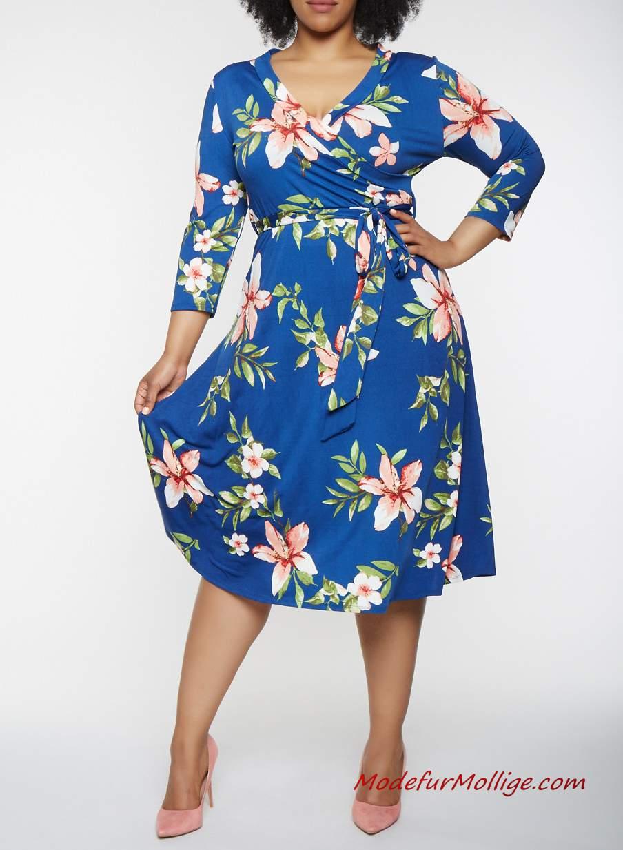 buy popular 1a460 a4085 2019 Sommerkleider mit Blumendruck Für Mollige Damen | Mode ...