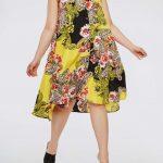 Große größe gelbes Midiblumenkleid für mollige damen
