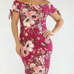 Große größe rosa mibi schulter offenes kleid für mollige damen