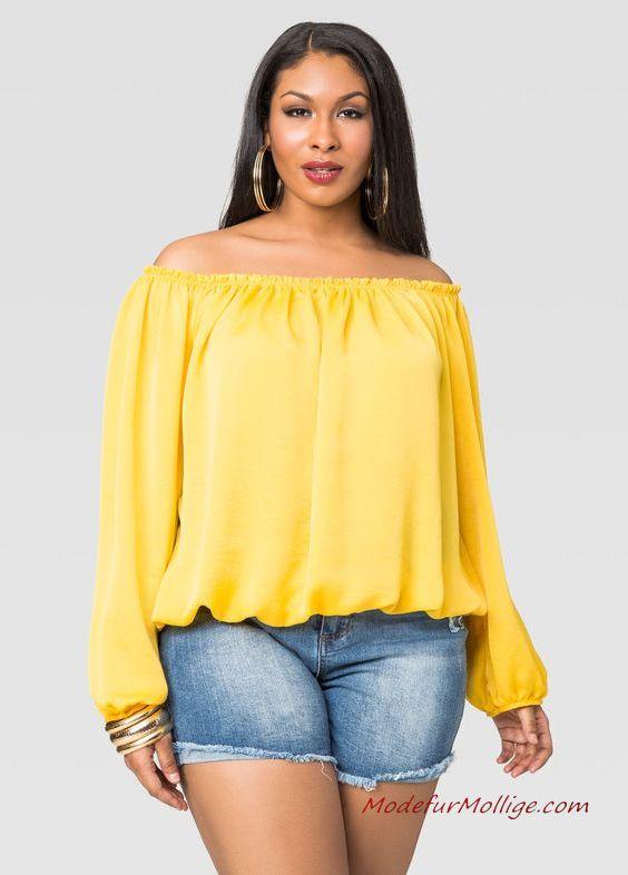 Sommer Mode für Mollige Damen Blau Jeans Shorts Gelb Schulter Bluse